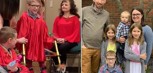 Boy with spina bifida walks for first time at his preschool graduation