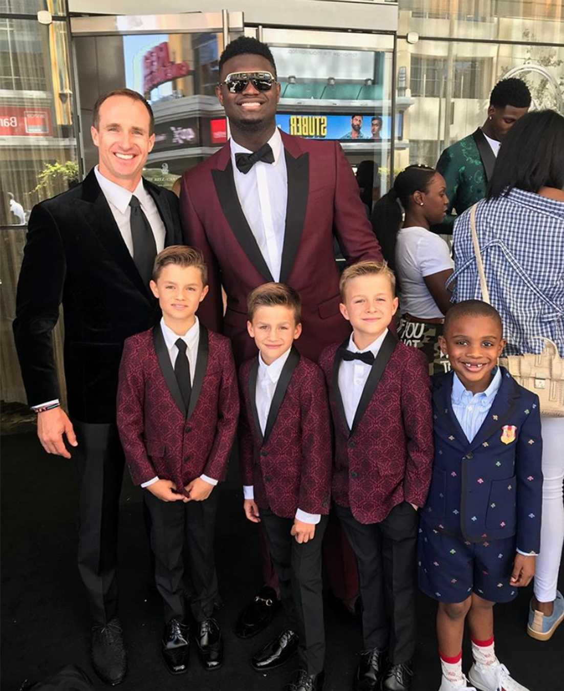 Drew Brees' Three Boys Meet Zion Williamson — in Coordinating Tuxes — at the 2019 ESPY Awards