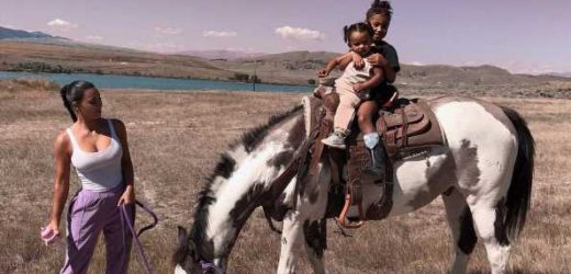 Kim Kardashian's Daughters North, 6, and Chicago, 19 Months, Ride a Horse Together in Wyoming