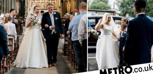 Bride who was told she would never have use of her legs walks down the aisle