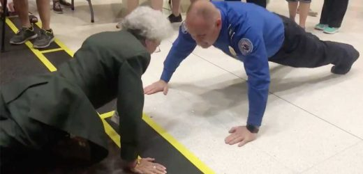 84-Year-Old Army Veteran Challenges TSA Agent to Push-Up Contest Before Her Flight