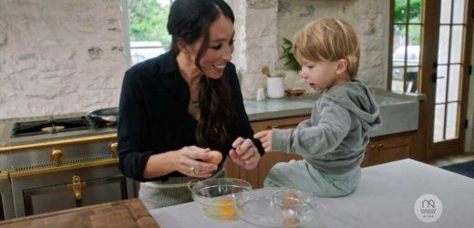 Watch Joanna Gaines Get a (Super Cute!) Surprise Helper, 2-Year-Old Son Crew, in Magnolia Kitchen Clip