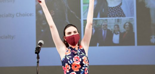 Students celebrate Match Day virtually or masked, socially distanced